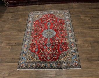 Charming Kork Wool Handmade Shahreza Isfahan Persia Rug Oriental Area Carpet 5X7