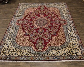 Top Quality Rare Kork Wool Handmade Kerman Persian Area Rug Oriental Carpet 9X12