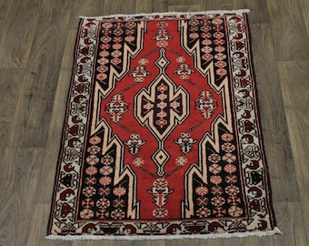 Lovely Design Hand Knotted Red Mazlaghan Persian Rug Oriental Area Carpet 3X4