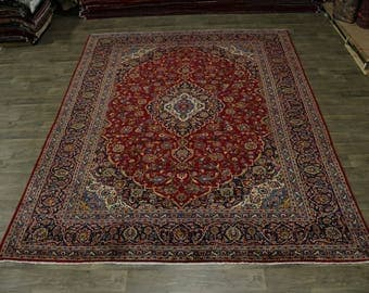 Traditional S Antique Hand Knotted Kashan Persian Rug Oriental Area Carpet 10X13