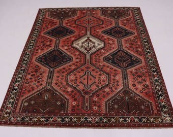 Delightful Antique Tribal Rare Shiraz Persian Rug Oriental Area Carpet Sale 7X9
