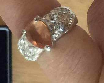 Sterrling silver and Orange stone ring