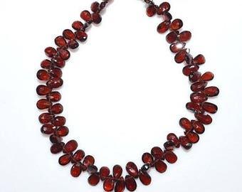 "50% OFF 1 Strand Natural Mozambique Garnet Pear Shape Beads - Mozambique Garnet Faceted Briolette , 6x4 - 8x5 mm , 8"" - BL1578"