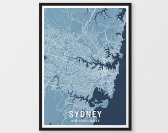 Sydney City Map Print - Two-tone / New South Wales / NSW / Australia / Art Prints / City Print / Australian Maps / City Art