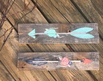 Custom Arrow Pallet Sign, Arrow Sign, Pallet Sign, Gallery Wall Decor, Woodland Nursery Decor, Floral Arrow Sign, Handpainted
