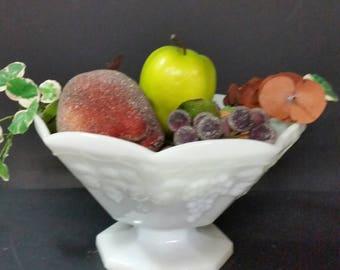 Vintage milk glass pedestal fruit bowl.  Grape design