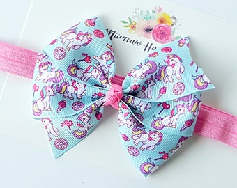 Unicorns and Rainbows Hair Bow, Elastic headband, Hair clip,  You Choose Headband or Clip