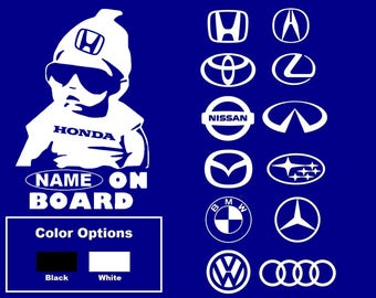 Customize Name + Car Brands Baby On Board Honda Toyota Nissan BMW Audi Mazda Van Truck Window Wall Laptop Vinyl Decal Decor Stickers.