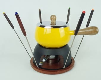YELLOW ENAMEL FONDUE pot, groovy colors, 1960s, 1970s, burner, forks, colorful 199