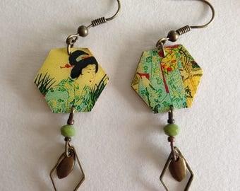 """Earrings resin, printed """"Geiko""""."""