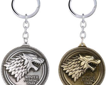 Game of Thrones Direwolf Keyring - House Stark - FIRST CLASS FREE