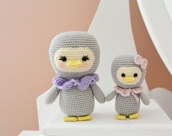 Crochet Penguin Family, Pattern, 2 instructions: mom and baby, English