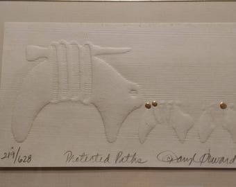 """Daryl Howard Woodblock Embossing """"Protected Paths"""" Signed and Numbered Gold Embellished 1985"""