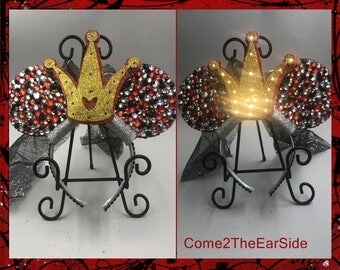 Bedazzled LIGHT UP LED  Queen of Hearts Alice in Wonderland Halloween Not so Scary Villain  Mickey Minnie Ears