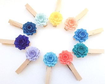 Paper Flower Clothespins (10 ct.) | Custom colors | Place Card Holders | Paper Flower Wall |Escort Card Display | Escort.Cards Holder