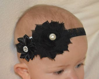 Beautiful Black Flower Headband for Your Little One!
