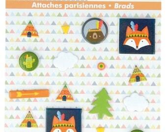 Lot of 9 fasteners Brads Parisian Fox Graphic Time - ties Paris - Brad