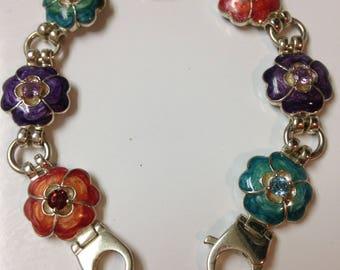 Sterling Silver Enamel Flower Bracelet with colored stones