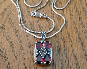 Sterling Silver Garnet and Marcasite Necklace