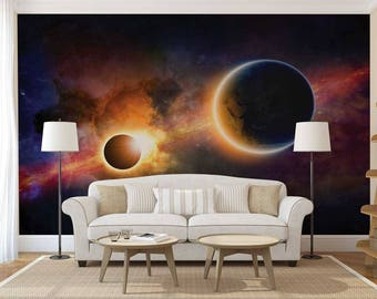Wall Mural Of Space, Planets Wallpaper, Wall Decal Of Space, Wall Mural Space, Wall Mural Of Galaxy