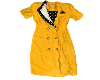 Vintage 80s Yellow Black and White Dress, Polka Dot, Major Shoulder Pads