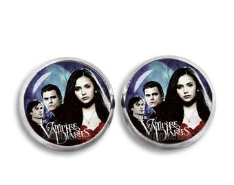 Vampire Diaries Earrings Vampire Diaries Stud Earrings Damon Salvatore Elena Stephan Fandom Jewelry