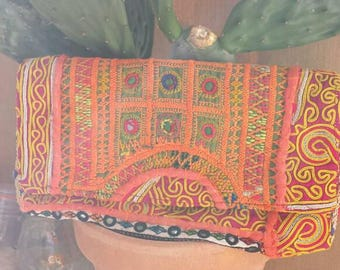 Hand made vintage clutch vintage Bohemian boho hippie embroidered mirrors