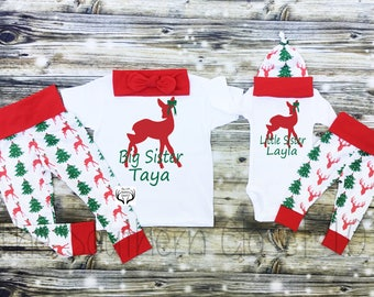 Big Sister Little Sister Outfits,Girls Christmas Outfit,Christmas Big Sister Little Sister Outfit,Girl Coming Home Outfit Set,Sibling Sets