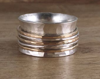 Sterling and Gold Spinner Ring - Mixed Metal - Fiddle Ring - Worry Ring - Silver Band Ring  - Hammered Silver - Silver and Gold