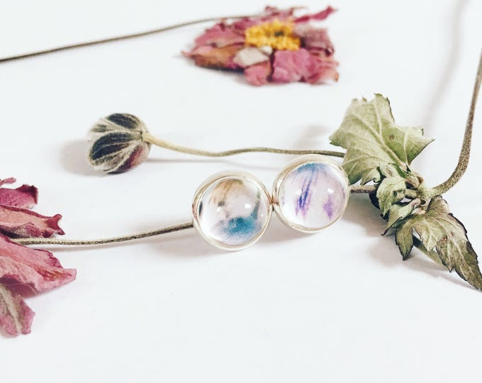 delicate bloom silver plated earstuds