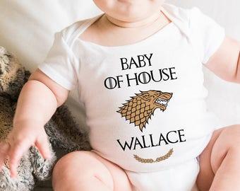 Game of Thrones Baby Onesie. House Name Personalized Game of Thrones Baby Bodysuit. Perfect Baby Shower or Birthday Gift. Custom Baby Shirt.
