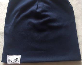 Navy handmade slouchy beanie hat