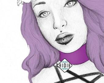 Purple woman / nu goth/ illustration / gótico