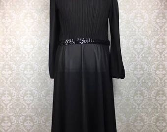 Vintage Sally Lou Sheer Long Sleeve A Line Circle Party New Years Dress Black Sequined Sz 12