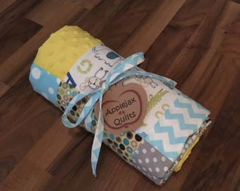 Modern Baby Quilt Handmade Personalized   Minky Baby Blanket   Baby Gift