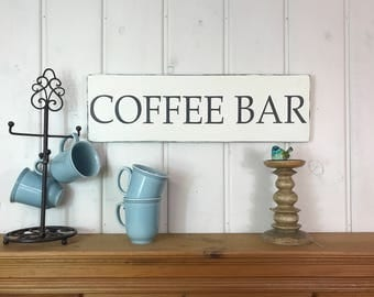 "Coffee sign | rustic wood sign | coffee bar | coffee lovers gift | kitchen decor | rustic home decor | 24"" x 7.25"""