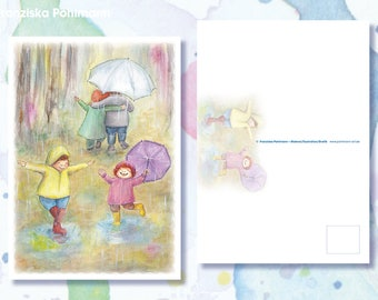 "Postcard ""Puddle fun"""