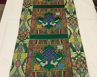 Tibetan Green Endless Knot / Eternity Knot silk brocade table runner / shrine cover / altar cloth / table cover
