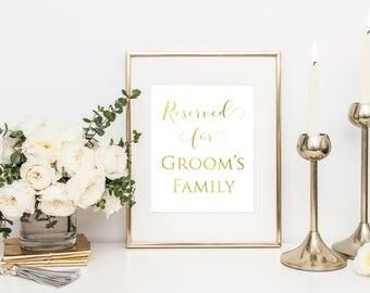 Printable Wedding Sign- Gold Wedding Sign- Reserved Printable- Reception Sign- Wedding Reserved Sign- Reserved Table Sign- Wedding Sign-