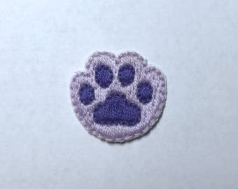 Purple paw print hand embroidered iron on patch
