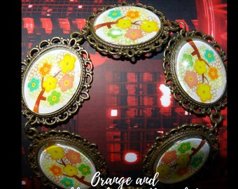 Orange and pink Flowers Bracelet