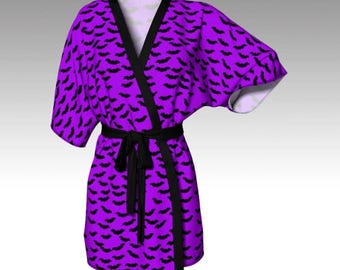 Halloween Robe, Purple Robe, Costume Robe, Bat Robe, Bat Kimono, Kimono Robe, Dressing Gown, Swim Coverup, Loungewear, Halloween Gift, Women