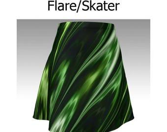 Green Skirt, Peridot Skirt, Abstract Skirt, Green and Black, Flare Skirt, Skater Skirt, Fitted Skirt, Bodycon Skirt, Cute Skirt, Short Skirt
