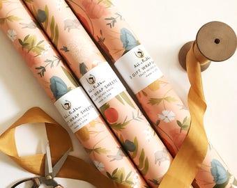 "3 Wrapping Paper Sheets - Dancing Animals Pattern - Each Sheet 20""x28"""