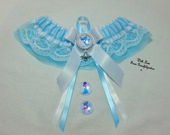 Handmade genie and the magic lamp princess jasmine keepsake bridal  wedding Garter. satin/lace/organza
