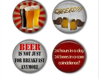 Beer magnets or Beer pins, alcohol magnets pins, beer for breakfast, cheers, refrigerator magnets, fridge magnets