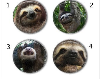 Sloth magnets or pins, Create your own set of 4! Sloth buttons, refrigerator magnets, fridge magnets, office magnets