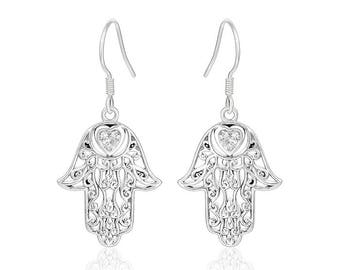 Hand of Fatima Hamsa Earrings, Silver Jewellery Earrings Gift For Her, Hamsa Hand Jewellery UK, Silver Hamsa Personalized Gift, Real Silver