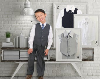 Toddlers and Boys Grey White Black Vest 4-Piece Suit, with Shirt Pants Tie, Baptism Christening Wedding Ring Bearer