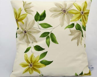 Floral cushion cover 38 x 38 cm, envelope back, cream with yellow and white flowers, botanical print, Sanderson Wisley